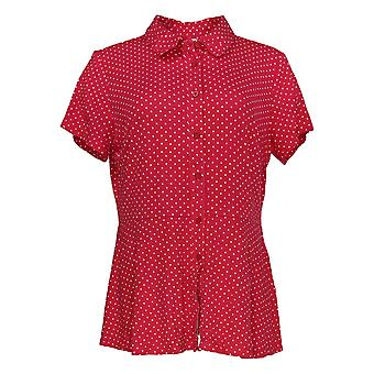 Isaac Mizrahi ao vivo! Women's Top Polka Dot Knit Button Front Red A352549