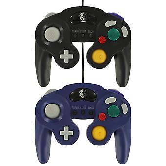 Zedlabz wired vibration gamepad controller for nintendo gamecube gc with turbo function - 2 pack purple & black