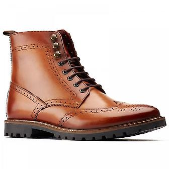 Base London Boone Tan Brogue Detailed Premium Leather Boots. Thick Commando Sole