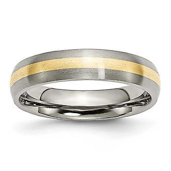 Titanium kaiverrus 14k kulta inlay 5mm harjattu bändi rengas korut lahjat naisille - rengas koko: 6-13