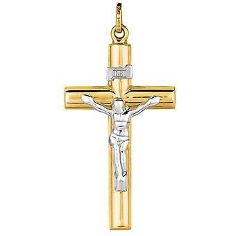 14k Yellow White Gold Shiny Religious Faith Cross With White Figurine Pendant Necklace Jewelry Gifts for Women