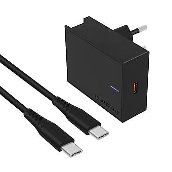 25W Super Fast Charging USB-C Wall Charger and 3A USB-C Cable Swissten Black