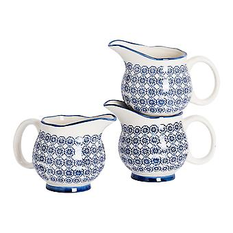 Nicola Spring 6 Piece Hand-Printed Milk Jug Set - Japanese Style Porcelain Cream Gravy Boat - Navy - 300ml
