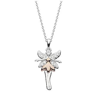 Dew Flutter Fairy With Cubic Zirconia And Rose Gold Plate Pendant 9750RCZ027