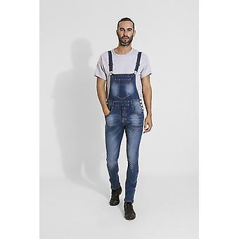 Whitefield mens super skinny denim dungarees - blue