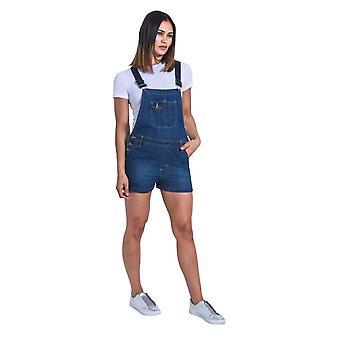 Imogen womens dungaree shorts - palewash