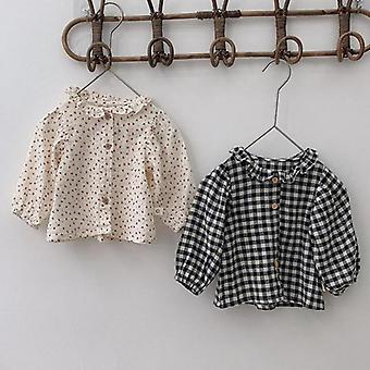 Autumn New Baby Floral Blouse Long Sleeve Shirt Cotton Kids Plaid Tops Toddlers