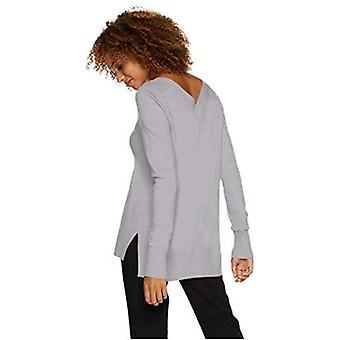 Lark & Ro Femmes 's Long Sleeve Oversized Double V-Neck Sweater, Light Heather ...