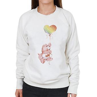 Hoito karhut rakkaus paljon karhu sateenkaari ilmapallo naiset's collegepaita