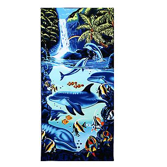 Absorbent microfiber towel, blue dolphin penguin print