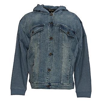 DG2 af Diane Gilman Women's Blue Basic Jacket Hooded 728-480