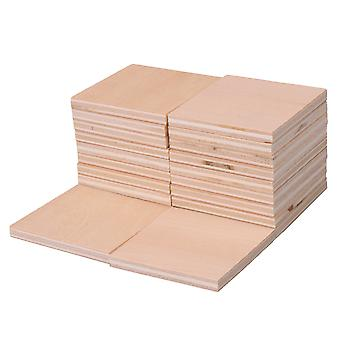 20 Pieces 3mm Thickness Square Shaped Wood Sheets Wood Blank DIY Crafts