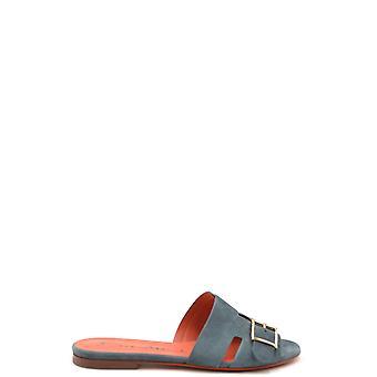 Santoni Ezbc023030 Women's Blue Suede Sandals