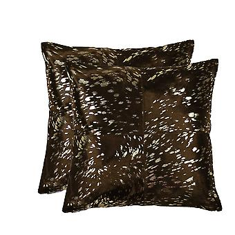 """18"""" x 18"""" x 5"""" Gold And Chocolate, Quattro - Pillow 2-Pack"""