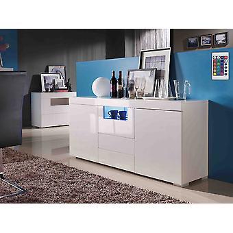 Mueble LED - MDF blanco lacado - 2 puertas y 3 cajones