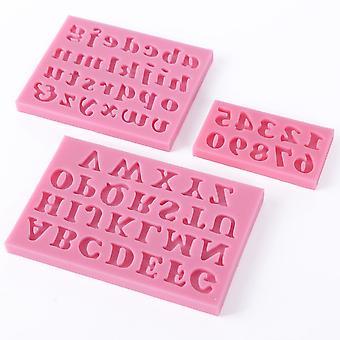 3-dílná silikonová písmena a čísla Dort Forma Fondant Cake Abeceda Cookie Cutter