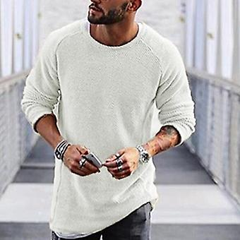 Autumn Casual Solid O Neck Sweater, Men Pullover Sweaters Casual Jumper