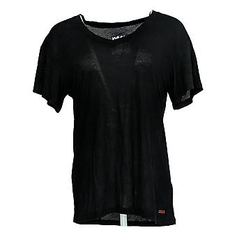 Peace Love World Women's Top Short Sleeve V Neck Black A377758