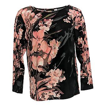 Bob Mackie Women's Top 3/4 Sleeve Orchid Print Black A350370