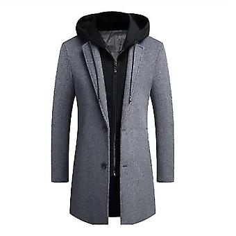 Men's Wool Walker Coat Thick Winter Long Jacket With Removable Hood