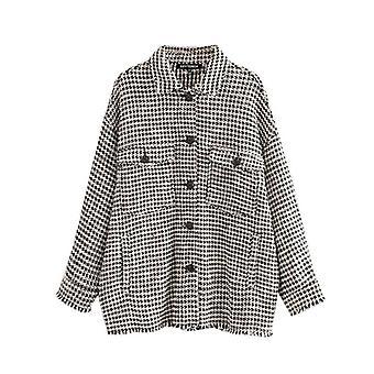 Ausgefranste Quaste übergroße Tweed karierten Jacke Mantel, Frauen Langarm Taschen