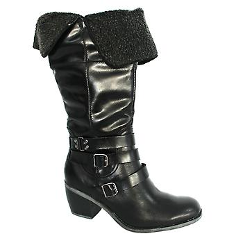 Hush Puppies Rustique 14 Inch Tall Boots Womens Black Leather H506875 B7D