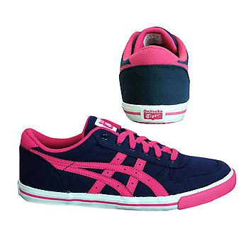 Onitsuka Tiger Aaron GS Navy Canvas Kids Lace Up Trainers C3A3N 5018