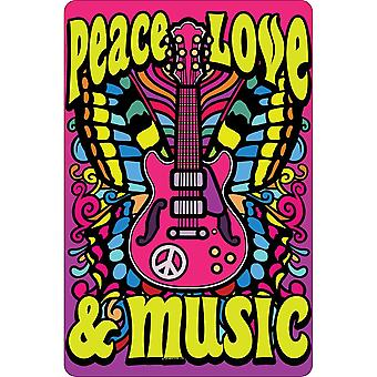 Greet Tin Card Peace Love Music Door Sign
