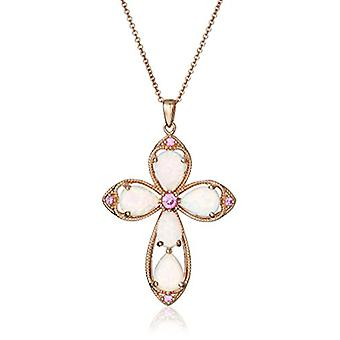 14K Rose Gold over Sterling Silver Created Opal with, White, Size No Size