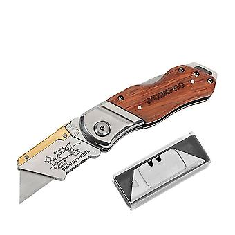 Heavy Duty Folding Pipe Cutter, Pocket Wood Handle Knife With 10pcs Blades