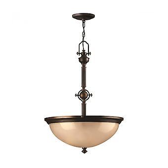 Lámpara Colgante Mayflower Max 385 Cm, Bronce Envejecido Y Vidrio, 3 Bombillaa
