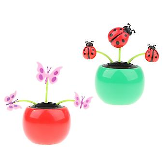Cute Solar-powered Sunflower Ladybug Butterfly Pot Toy