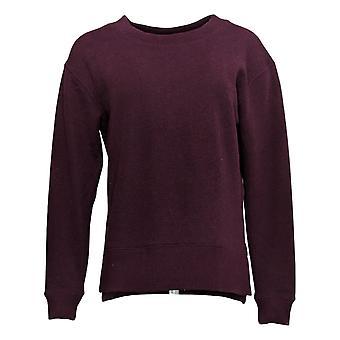Kirkland Signature Women's Fleece Sweatshirt Crewneck W/ Side Slit Red