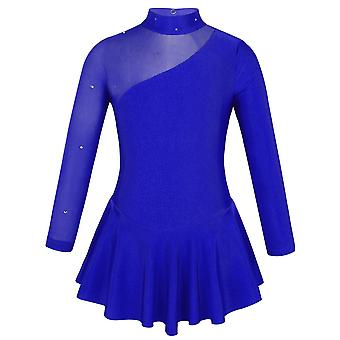 Girls Figure Ice Skating Competition Dress Long Sleeves Tulle Splice Cutouts