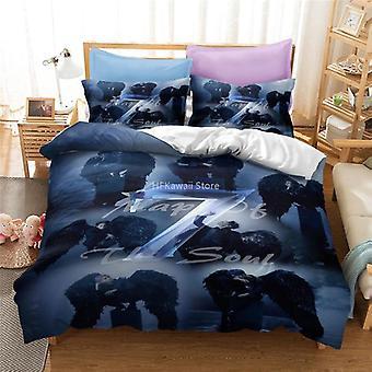 Popular Printed Bedding Set, Duvet Cover Pillowcase Linen Bed Set