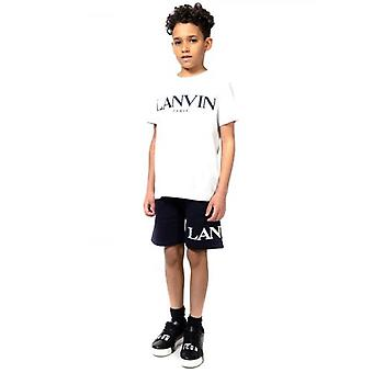 Lanvin Kids Navy Embroidered Logo Cotton Shorts