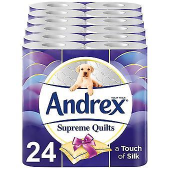 Andrex Toilet Roll Supreme Trapunte Senza profumo Carta igienica a 4 ply, 24 rotoli