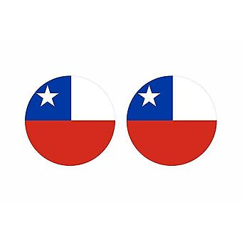 2x stick klistermärke rund cocarde chilensk chili flagga