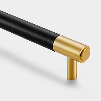 Brass Bar Handle - Gold - Hole Centre 225mm - Black Leather