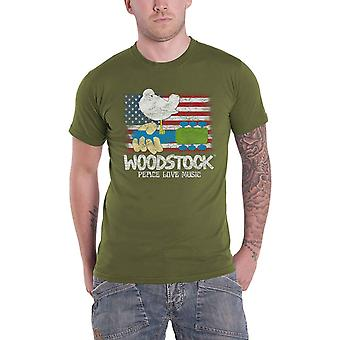 Woodstock T Shirt Flag Logo new Official Mens Military Green