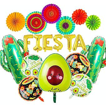 Gerui Set of 14 Mexican Party Decoration Fiesta Party Decoration Fiesta Balloons Cactus Balloons