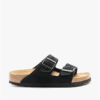 Birkenstock Arizona Sfb 951323 (nar) Ladies Suede Two Strap Sandals Black