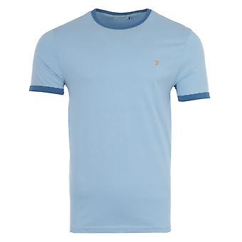 Farah Groves Organic Cotton Slim Fit Ringer T-shirt - Ocean Blue