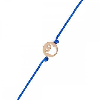 Smiley Vermeil Rose cord bracelet and blue cord 'apos;Happy'apos;