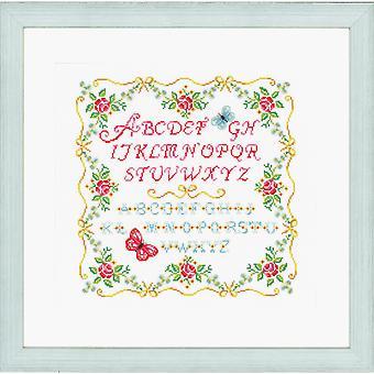 Vervaco Contato Cross Stitch Kit: Alfabeto e Rose