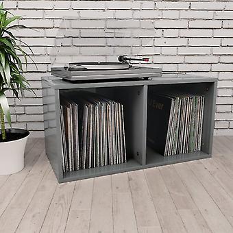 boîte de rangement de disques vidaXL gris brillant 71×34×36cm