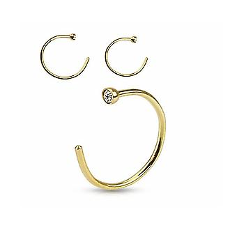 Solid 14k gold nose hoop with cz jewel