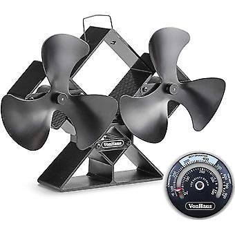 DZK 6-Blade Twin Motor Double Heat Powered Wood Stove Fan with Temperature Gauge - Ultra Quiet