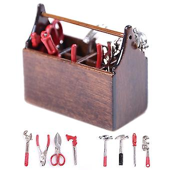 Dollhouse Miniature Wooden Tool-box, Metal Tools Set, Decor Toy Accessories,