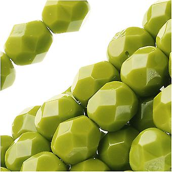 Tšekkiläinen tuli kiillotettu lasi läjät 6mm pyöreä 'läpinäkymätön oliivi' (25)